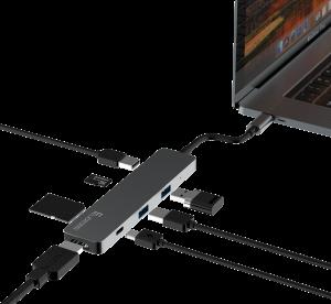 新MacBook用 充電しながら使えるハブ HDMI対応 Felicross MacBook・MacBookPro対応 USB-Cハブ 【USB2.0×2ポート HDMI USB-C SDCard MicroSDCard】 (シルバー、スペースグレイ)