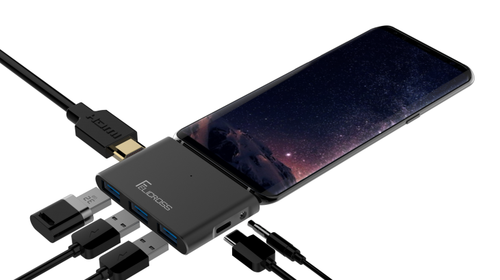 Galaxy Note8用 モニターに接続できるハブ 3.5mmイヤホンジャック対応 Felicross USB-C HUB 【USB3.0×3ポート HDMI USB-C